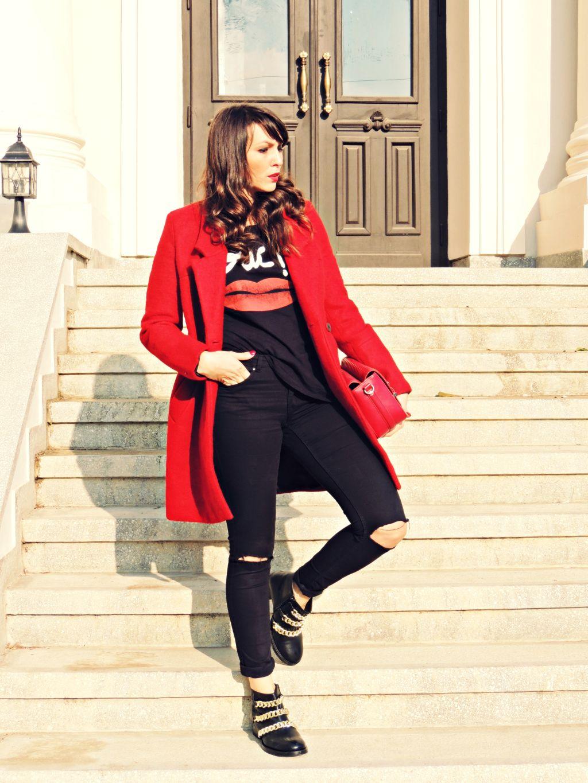 palton rosu Zara toamna iarna 2014 2015 3