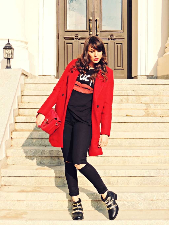 palton rosu Zara toamna iarna 2014 2015 6