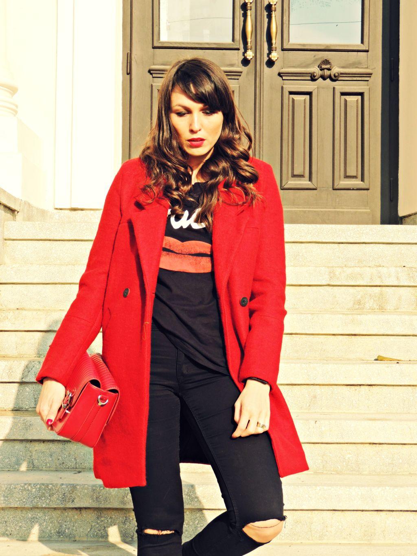 palton rosu Zara toamna iarna 2014 2015 7