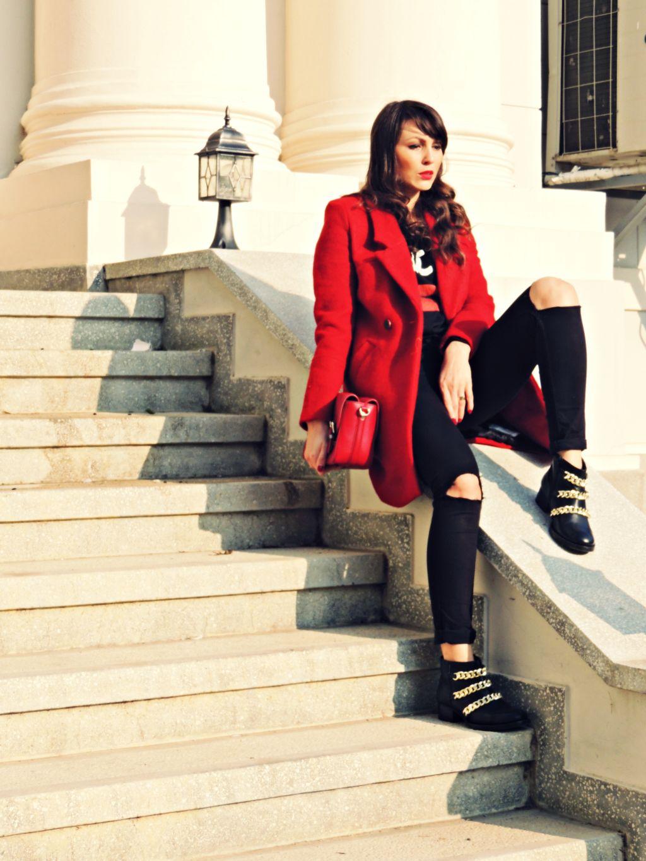 palton rosu Zara toamna iarna 2014 2015 9