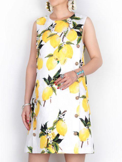 rochie alba de vara cu imprimeu lamaie
