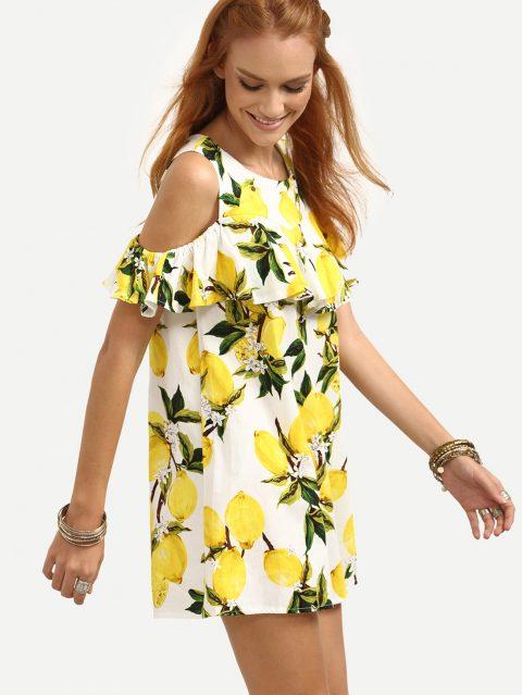 rochie de vara cu imprimeu lamaie
