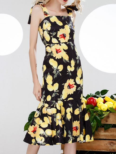 rochie neagra de vara cu imprimeu lamaie