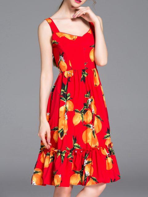 rochie rosie de vara cu imprimeu lamaie