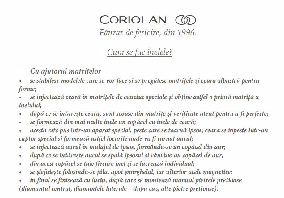 cum se fac inelele la Coriolan